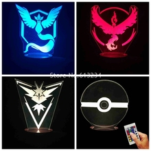 Free Shipping 1Piece 3D Visual Anime Action Figures Pokemon Go Collection Team Mystic/Team Valor/Team Instinct/Pokeball Light