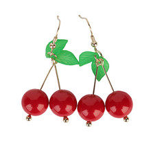 Trendy Plant Dangle Earring Jewelry Sweet Cherry Earrings for Women Bijoux Hot Fashion Street Ladies Girl Nice Christmas Gift(China)