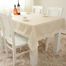 Fresh Iridescence Lattice Linen Table Cloth for Dinning Table / Beige White Lace Plaid Tablecloth for Household Appliances