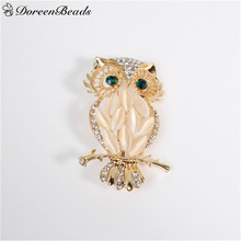 DoreenBeads Halloween Pin Brooches Owl Animal Gold Color Green Clear Rhinestone for Woman Man Coats Hats Sweater Party Gift 1PC(China)
