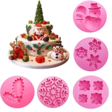 Hoomall Christmas Series Silicone Fondant Cake Mold Jelly Handmade Pudding Christmas Leaves Snowflakes Snowman Baking DIY Tools(China)