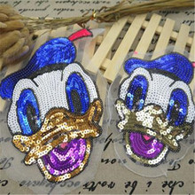 Embroidered iron on patches for clothes sequins deal with it clothing DIY Motif Applique Cartoon Donald Duck Free shipping