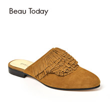 BeauToday Tassel Mules Women Shoes Good Quality Genuine Leather Kid Suede  Female Shoe Brand Flats Handmade 285d0212ca15