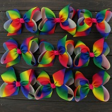 "Toplay 10pcs/lot Girls 6"" Large Boutique Rainbows Bow With Alligator Clips Grosgrain Ribbon Hair Bows Accessories For Teens Kids"