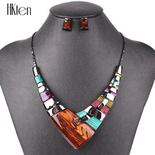 MS20101 Fashion Jewelry Sets Gunmetal Plated Bright Colors High Quality Woman's Necklace Earring Set Wedding Jewelry