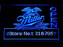 037 Miller Draft Beer OPEN Bar LED Neon Sign with On/Off Switch 20+ Colors 5 Sizes to choose(China)
