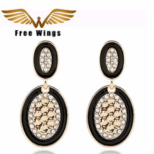 decorative atmosphere exaggerated fashion hot black and white color oil painting oval tassel earrings B3.5(China)