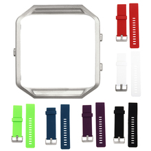 2017 New Silver Metal Frame+Soft Silicone Wrist Watch band Replace Sport Strap For Fitbit Blaze SmartWatch Replacement