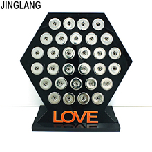 JINGLANG Fashion 18mm Snap Button Display Stands Black Acrylic Interchangeable Snap Jewelry Quadrilateral Displays Board(China)