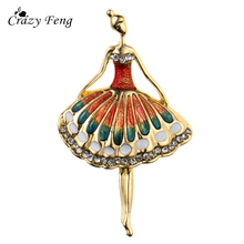 Crazy Feng Dancer Girl Small Pins Brooch Red Green Enamel Scarf Clip Broach Corsage Wedding Bouquet Women Girls Jewelry Gifts(China)