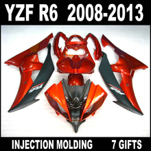 Hot sale Injection molding for 2008-2013 YAMAHA R6 fairings 08 09 10 11 12 13 YZF R6 orangered flat black fairing body kit YH83