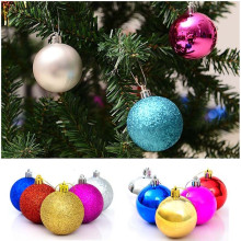 New arrival 24pcs/set Christmas Tree Ornament 4cm Silver Round Ball Hanging Decor Ornament for Chrismas Atmosphere  Decor Gift