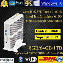 DHL Free Shipping Small PC Broadwell Mini Nettop 8G Ram 64G SSD 1T HDD Intel Core i5 5257U TV Player Graphics HD 6100 300M Wifi