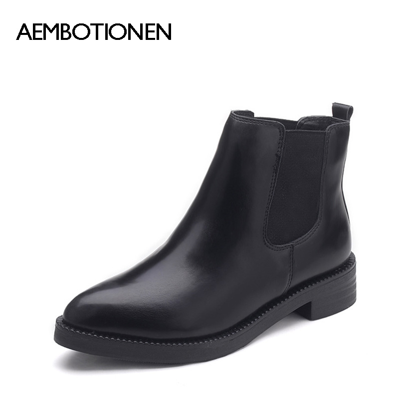2017 New Autumn Winter Boots Women Snow Ankle Boots Fashion PU Leather Woman Martin boots Black Pointed Toe Women Winter Shoes<br><br>Aliexpress