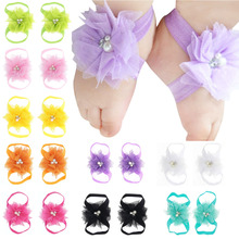 First Walkers Chic Flower Barefoot Shoes Elastic Satin Feet Decor Headband Jewelry Photography Props