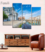 4Panel  Modern Canvas Painting Wall Art Italy Venice Landscape Oil Painting Beautiful City River Decorative Picture Home Decor