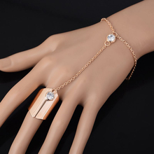 Fashion Crystal Wide Finger Slave Hand Chain Jewelry Punk Style Gold Chain Harness Bracelet Bangles For Women Free Ship