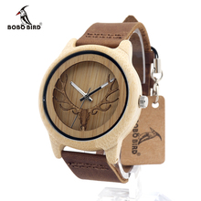 BOBO BIRD Vintage Deer Head Skeleton Design Bamboo Wood Wrist Watch Mens Womens Timepiece with Leather Bands in Watch  Box