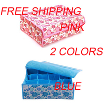 FREE SHIPPING Cute 16 Grid Underwear Box Foldable Box,Storage Box For Bra,Necktie,Socks 1Pc/Lot