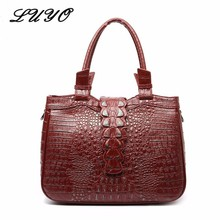 LUYO Crocodile Grain Genuine Leather Women Shoulder Bags Alligator Ladies Luxury Handbags Designer Inspired Tote Bag China Sac(China)