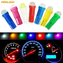 FEELDO 1Pc Car T5 COB LED Ceramic Dashboard Gauge Instrument Wedge Base Auto Side Wedge LED Light Lamp Bulb 7-Color #FD-5018