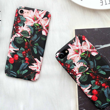 LOVECOM Retro Cherry Flower Floral Cherry Plastic Hard Phone Cases For iphone 7 6 6S Plus 5 5S SE Back Cover Cases Best Gifts