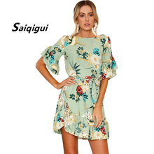 Buy Saiqigui 2018 New Fashion Summer Short Sleeve Women Dress Irregular O-neck Print Chiffon Dress robe fem Vestidos de festa for $12.52 in AliExpress store