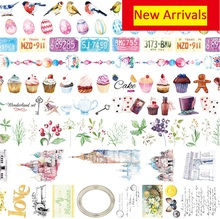 Cake Bird City Washi Paper Tape Washi Set Fita Adesiva Papeleria Kawaii Washi Tape Lot Planner Japanese Scrapbook DIY Washi