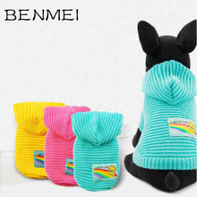 BENMEI Thicken Clothes For Dogs Handicraft Dogs Sweater Christmas Costumes Overalls Apparel Jacket For Dog Rainbow Pattern(China)