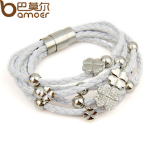 Leather Wrap Woven Flower Bracelet  Bangles White for Women Fashion Stainless Steel High Quality Jewelry PI0693