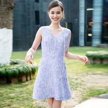 Light purple tweed dress 2017 spring / autumn women's dresses V-neck sleeveless slim waist  tweed fabric  ladies one-piece dress