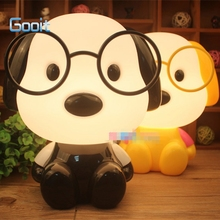 Cute Glasses Dog Cartoon Night Light Baby Room Kids Bed Lamp Sleeping Night Lamp Decoration Eyeshield Table Lamp(China)