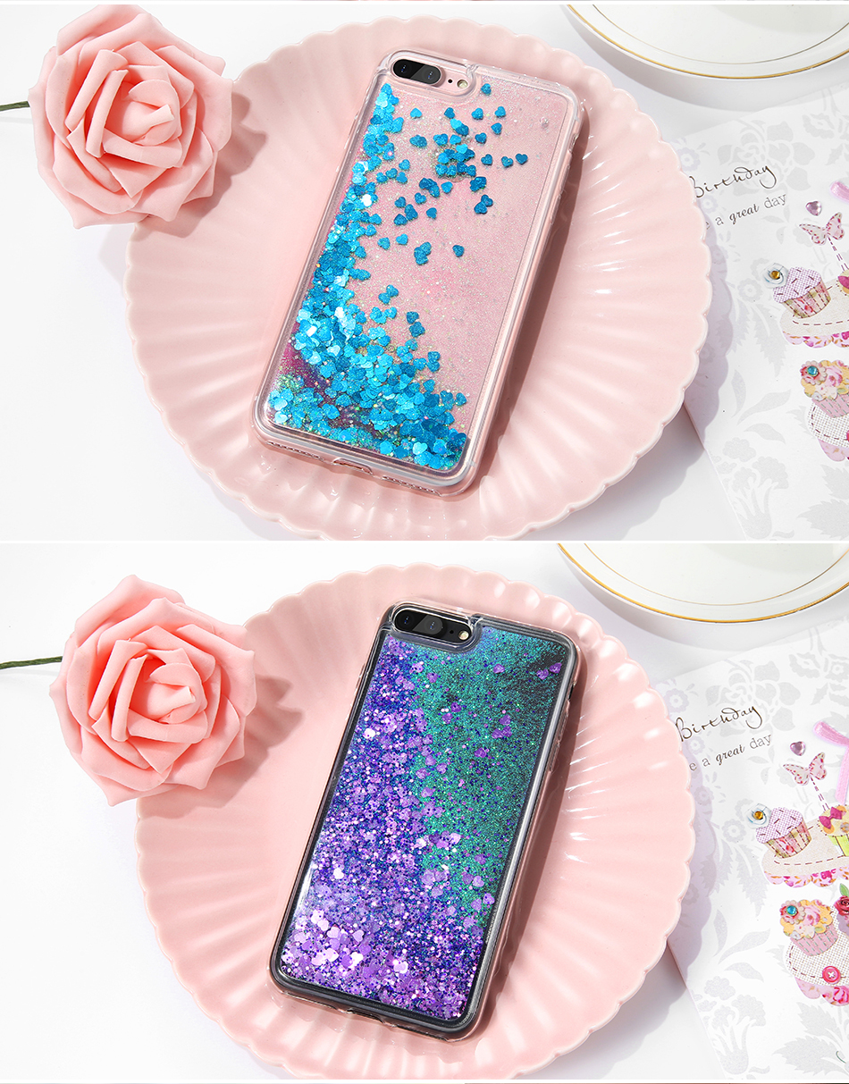 DOEES Bling Liquid Quicksand Phone Case For iPhone 7 7 Plus Shiny Sequin Soft Silicone Case Cover For iPhone 5 5S SE 6 6s Plus (7)
