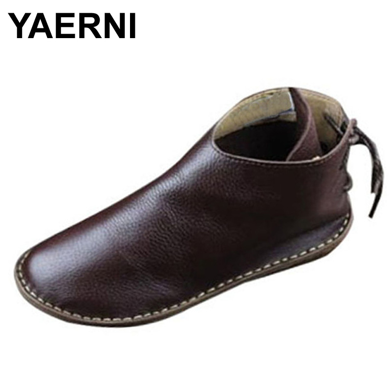 YAERNI Womens Boots Genuine Leather Ankle Boots Round toe lace up Woman Casual Shoes with/without fur Autumn  Boots <br>