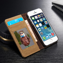 Vintage Cowboy Jean Leather Case For Apple iPhone 5s Original Cell Phone Cases Magnetic Flip Wallet Stand Cover For iPhone 5 SE(China)