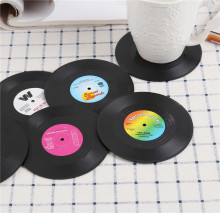 Professional Vinyl Retro CD Record Shaped Dish Drying Mat Placemat Kids Creative Coaster Set Table Mats 6pcs/set Coffee Holder(China)