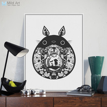 Nordic Black Kawaii Totoro Miyazaki Japanese Anime Poster A4 Big Modern Abstract Wall Art Picture Kids Room Deco Canvas Painting(China)