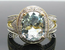 3.45CT SOLID 14K Yellow GOLD NATURAL AQUAMARINE . ENGAGEMENT RING