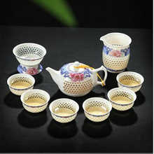 TeaPot 10 Pcs Kung Fu Tea Set, Ice crystal honeycomb teapot Blue and White TeaPot,Bone China GaiWan,Tea Sea,Porcelain Filter Mug