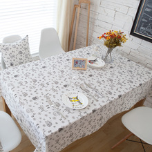 Classic Rectangular Table Cloth Dustproof Cartoon Cat Printed Cotton Linen Table Cloth Restaurant Wedding Table Covers Hot(China)