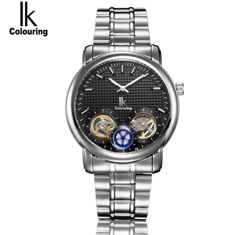 2017 IK Watch 2017 Mens Dual Tourbillion Dial Watches Auto Mechanical Wristwatch with Original Box Free Ship<br>