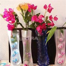 Color Random Foldable Folding Flower PVC Durable Vase Home Wedding Party Easy to Store 27.4 x 11.7cm