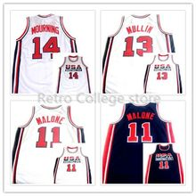 #10 Clyde Drexler #13 Chris Mullin #14 Alonzo Mourning #11 Karl Malone TEAM USA JERSEY Retro Basketball Jerseys custom any sizes(China)