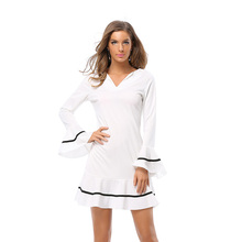 Hot Women Autumn Dress Long Butterfly Sleeve Sexy V Neck Classic White Short Mermaid Dress Plus Size Mini Party Dresses vestidos(China)