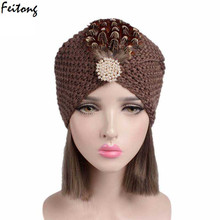 2017 New Winter Hat Women Knitted Wool Cancer Beanie Hats Ladies Retro feather Turban Head Wrap Cap Pile Cap(China)