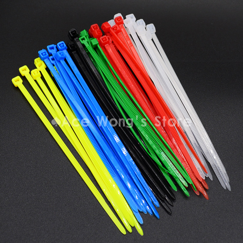 100 Pack All Colour Cable Ties 100mm 200mm 300mm Nylon Plastic Zip Tie Wraps