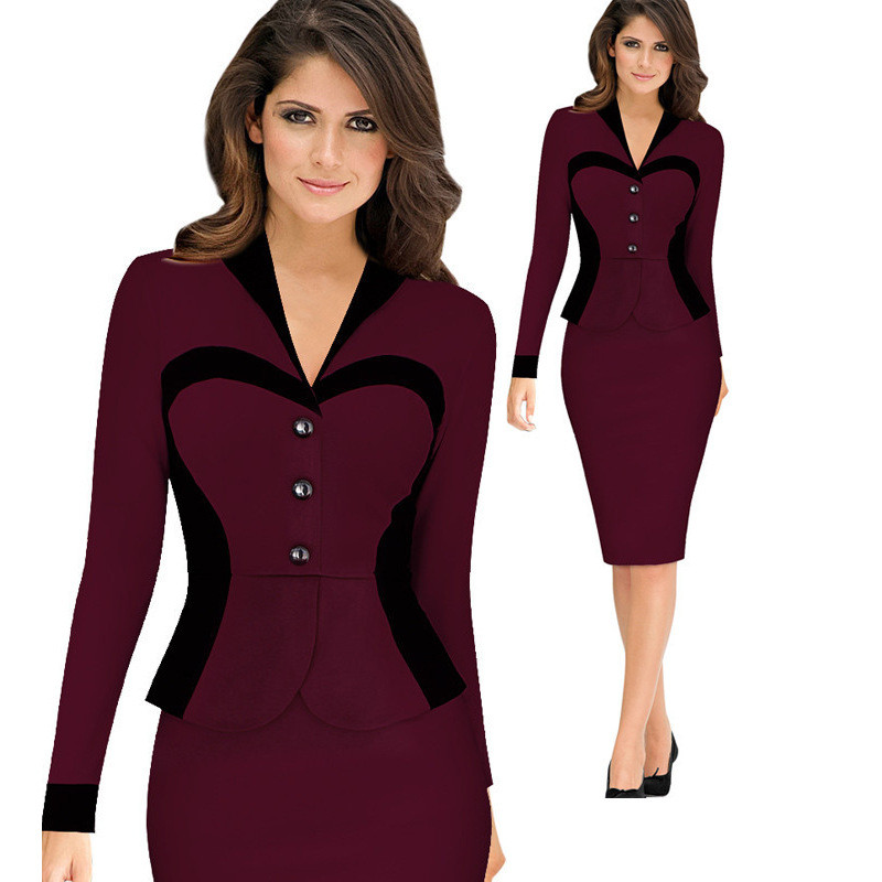 High Quality Button Autumn Full Sleeve New Vintage Dress V-Neck Formal Work Bodycon Office Midi Dress Pencil Dress A163