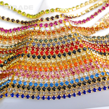 17 Kind Colors Gilded Base Clear Crystal SS6 (2mm) 3.6Meter/ Roll intensive Gilded base DIY Rhinestone Cup Chain For Bags Design
