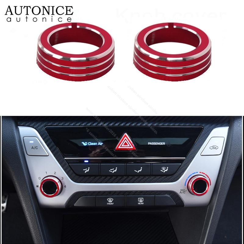 2pc Aluminum Alloy Air-Condition Button Cover for HYUNDAI Elantra 2017-2019 RED