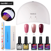 Modelones 8Pcs/Lot Beginner Nail Art Tools 16W Nature1 Nail Dryer Led Lamp Set Any 3 Colors Gel Nail Polish Nail Manicure Kits(China)